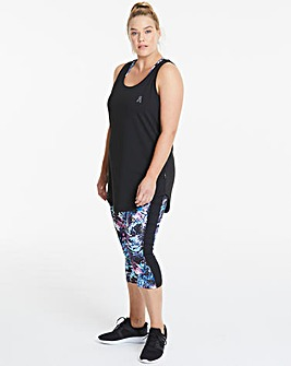SPORTS PRINTED FOLD OVER WAISTBAND CAPRI