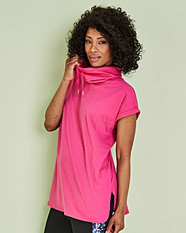 Magenta Slouchy Cowl Neck T-Shirt