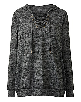 Grey Marl Slouchy Knitted Lace Up Hoodie