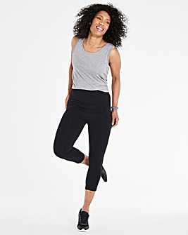 Black Fold Over Waistband Capri Legging