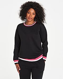 Stripe Ribbed Detail Sweatshirt