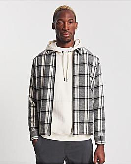 Grey Zip Check Overshirt