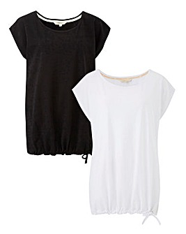 Pack of 2 Black/ White Blouson T-Shirts