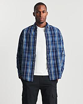 Navy Long Sleeve Cotton Check Shirt