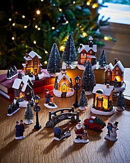 25 Piece Deluxe Christmas Village
