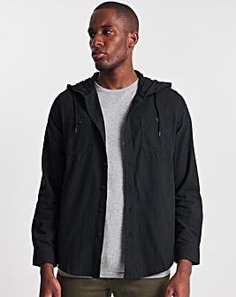 Black Flannel Hooded Overshirt