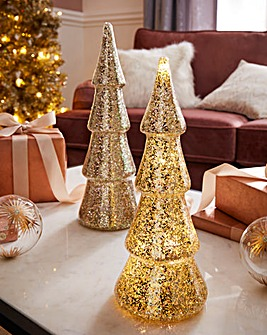 Set of 2 Sequin Lit Christmas Trees