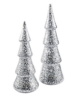 Set of 2 Glitter Lit Christmas Trees