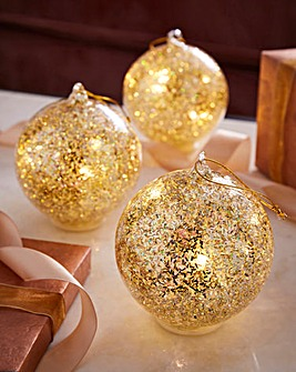 Set of 3 Sequin Lit Tree Decorations