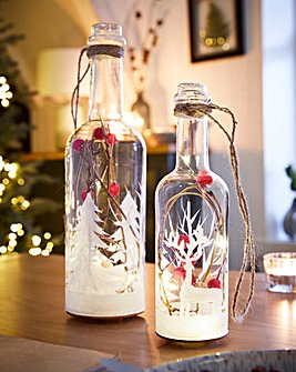 Set of 2 Frosted Berry Lit Bottles