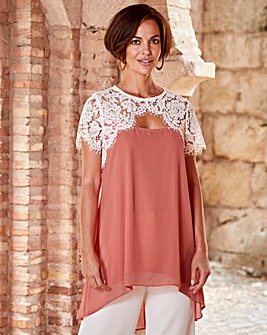 Joanna Hope Lace Trim Tunic