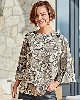 Joanna Hope Snake Print Tie Back Blouse