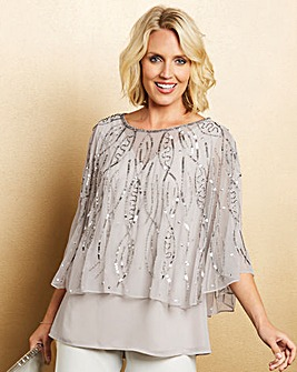 Nightingales Silver Beaded Cape Top