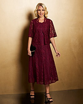 Nightingales Berry Lace Dress and Jacket