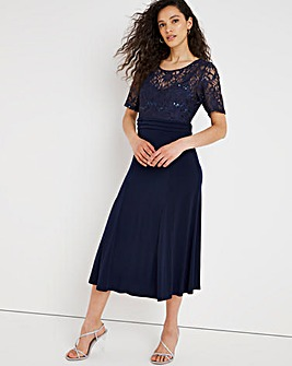Nightingales Navy Lace Bodice Dress