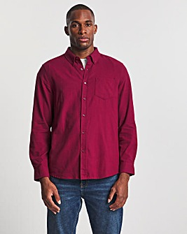 Wine Long Sleeve Brushed Flannel Shirt