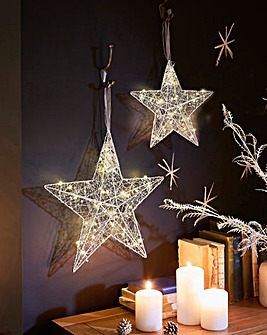 Set of 2 Silver Star Hanging Decorations