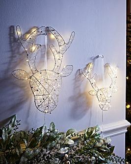 Set of 2 Silver Reindeer Lit Decorations