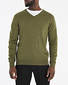 Olive Acrylic V-Neck Jumper Long