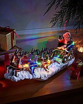 Santa and Sleigh Lit Christmas Scene