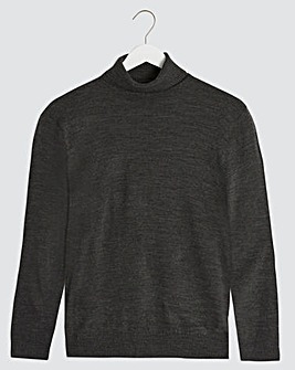 Charcoal Acrylic Roll Neck Jumper Long