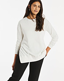 Cream Side Zip Sweatshirt