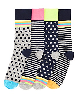 Pack of 4 Neon Pattern Socks