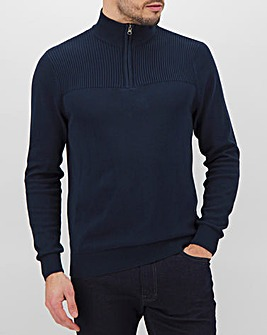 Navy/Grey Quarter Zip Neck Jumper Long