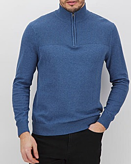 Blue/Navy Quarter Zip Neck Jumper Long