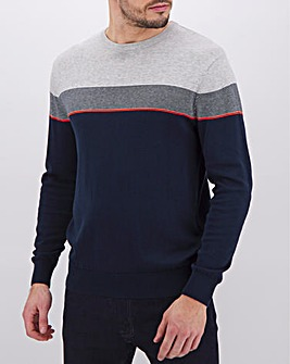 Navy/Red Stripe Crew Neck Jumper Long