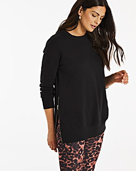 Black Side Zip Sweatshirt