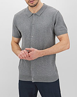 Grey Marl Short Sleeve Polo Jumper Long