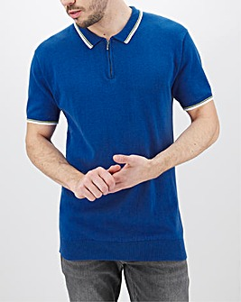 Blue Zip Neck Short Sleeve Polo Long
