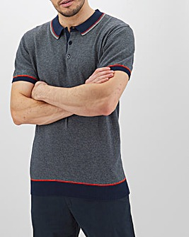 Grey Stripe Short Sleeve Polo Long