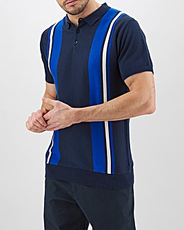 Navy/Blue Short Sleeve Knitted Polo Long