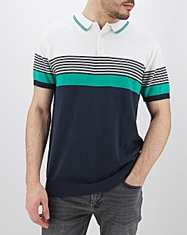 Navy/White Knitted Polo Long
