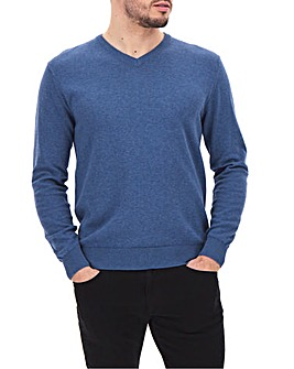 Blue Marl Cotton V-Neck Jumper Long