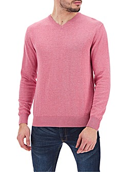 Coral Marl Cotton V-Neck Jumper Long