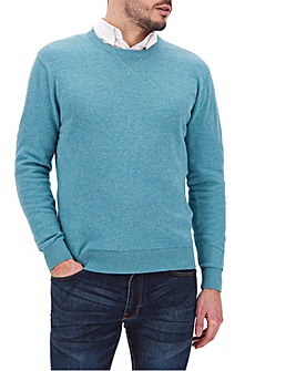 Aqua Cotton Crew Neck Jumper Long