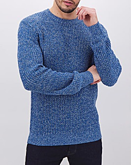 Blue Twisted Crew Neck Jumper Long