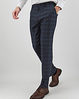Navy Check Alfie Regular Suit Trousers