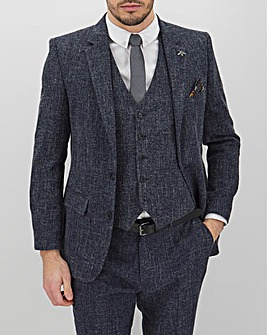 Navy Flek Textured Armstrong Regular Fit Suit Jacket