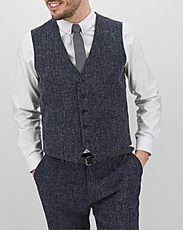 Navy Flek Textured Armstrong Regular Fit Waistcoat
