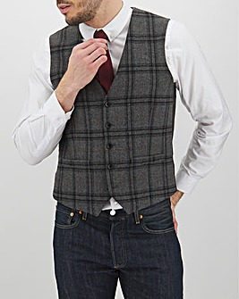 Grey Check Anthony Regular Fit Waistcoat