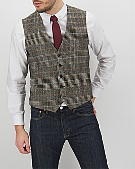 Brown Check Adrian Regular Fit Waistcoat
