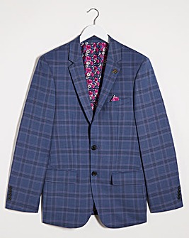 Denim Check Ricardo Regular Fit Suit Jacket