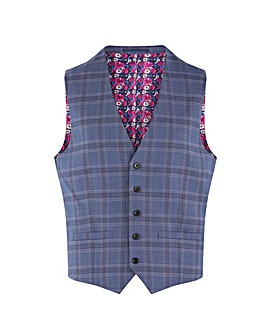 Denim Check Ricardo Regular Fit Waistcoat