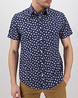 Navy Print Short Sleeve Formal Shirt Long