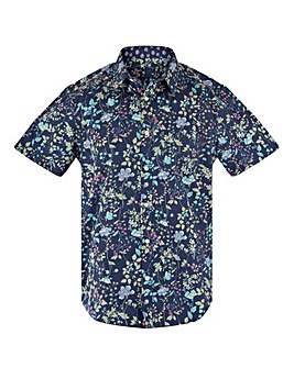 Navy Floral Short Sleeve Formal Shirt