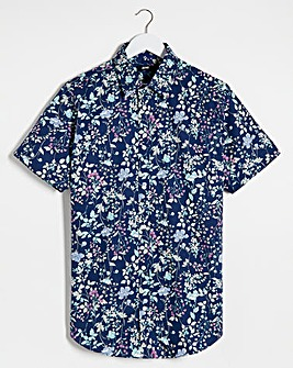 Navy Floral Short Sleeve Formal Shirt Long